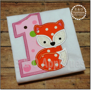 Fox Birthday 1 Applique Design