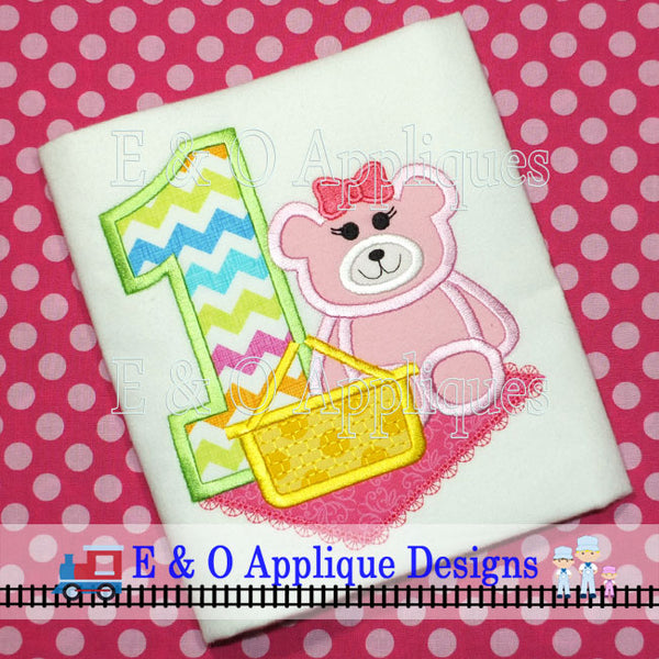 1 Picnic Bear Girl Digital Applique Design