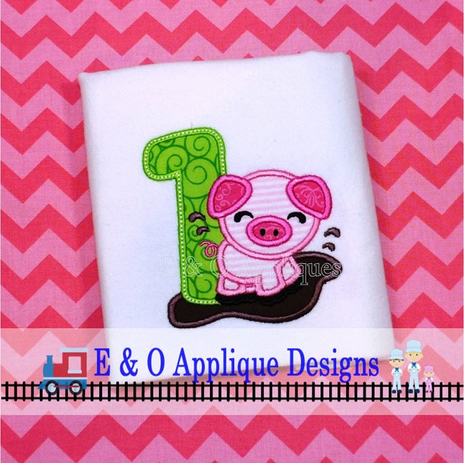 Pig 1 Digital Machine Applique Design