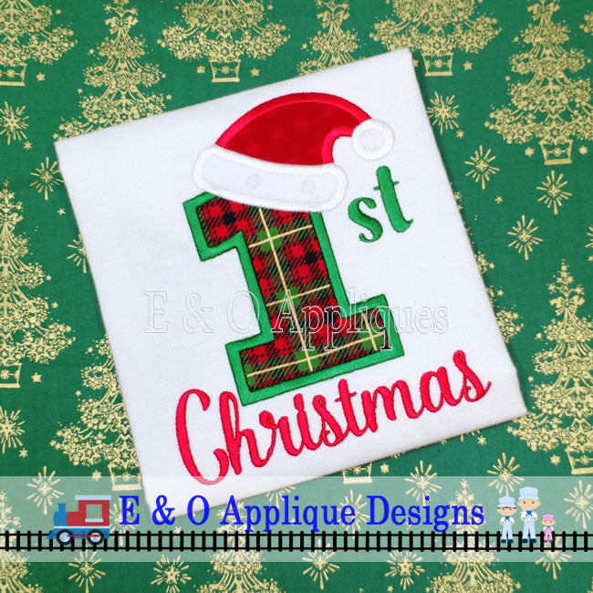1st Christmas Santa Hat Digital Applique Design