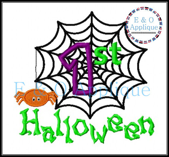 1st Halloween Spiderweb Applique Design
