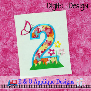 2 Butterfly Flowers Applique Design