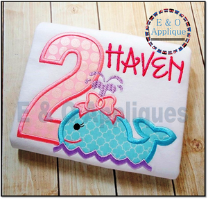 Whale Girl 2 Birthday Applique Design