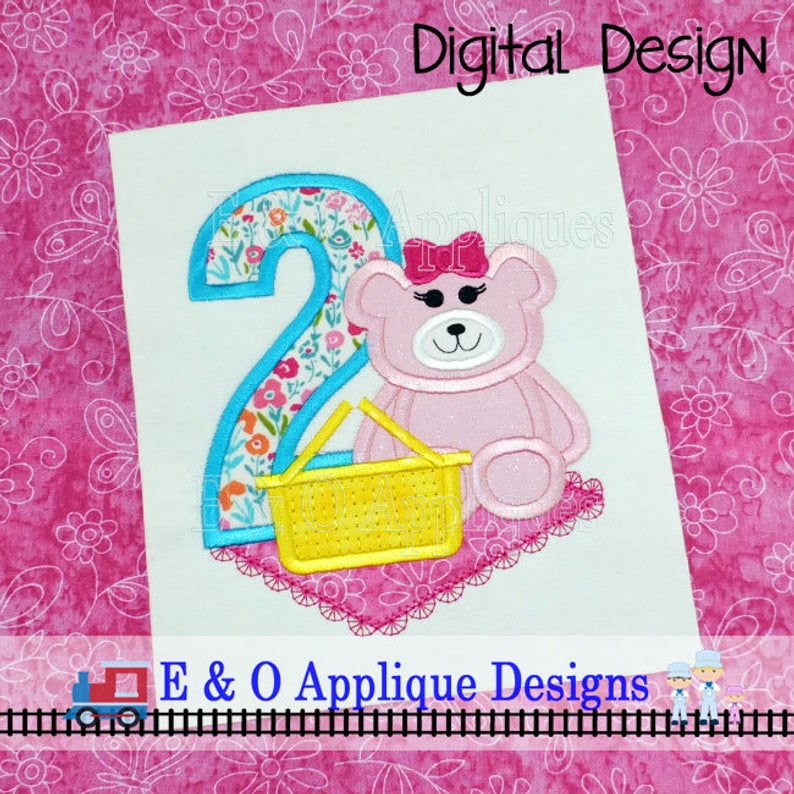 2 Picnic Bear Girl Applique Design