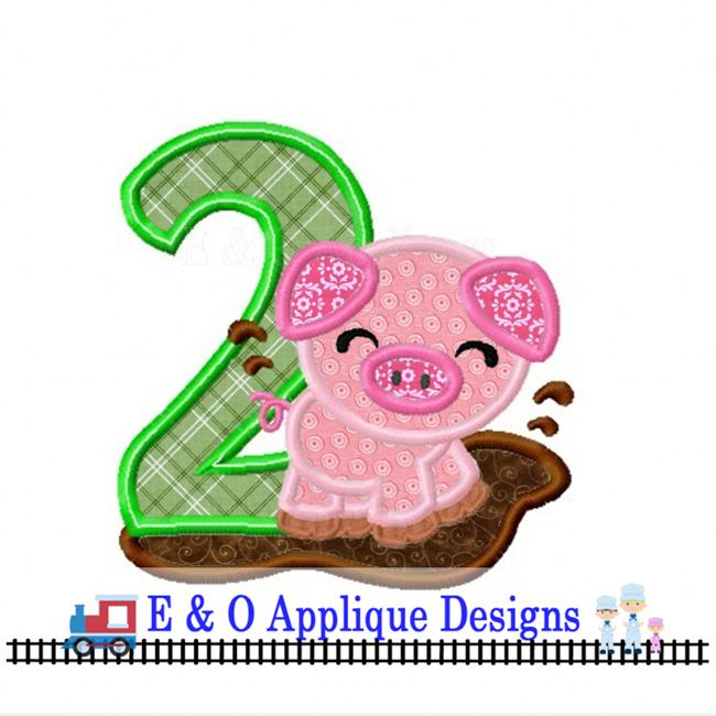 Pig 2 Digital Applique Design