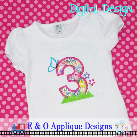 3 Butterfly Flowers Applique Design
