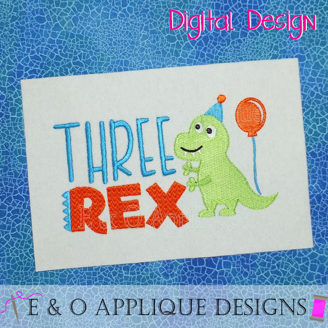 Three Rex Embroidery Design
