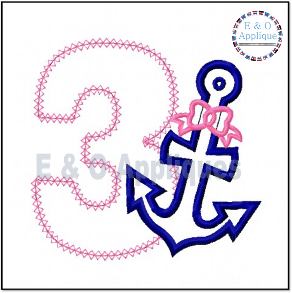 Anchor Bow 3 Birthday Applique Design