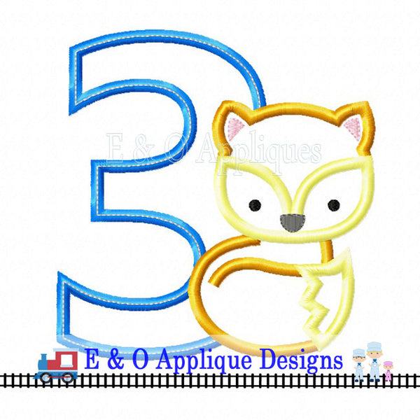 Fox Birthday 3 Applique Design