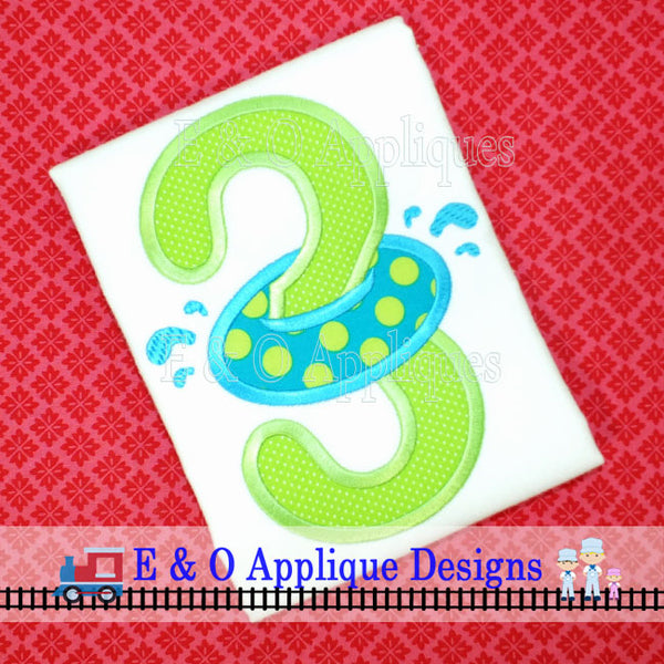 Inner Tube Birthday 3 Applique Design