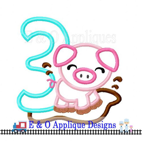 Pig 3 Digital Applique Design