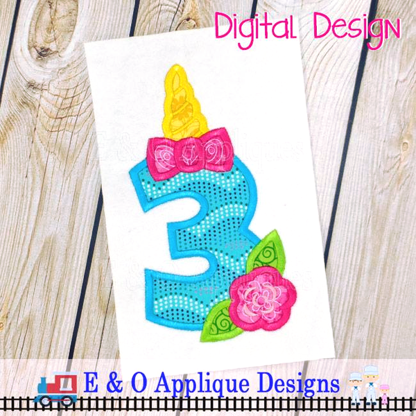 Unicorn Birthday Applique #3