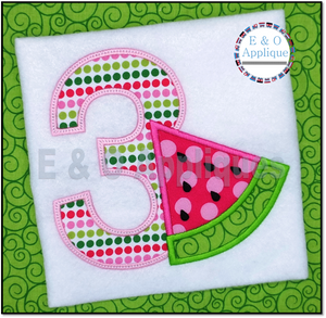 Watermelon Birthday 3 Applique Design