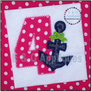Anchor Bow 4 Birthday Applique Design