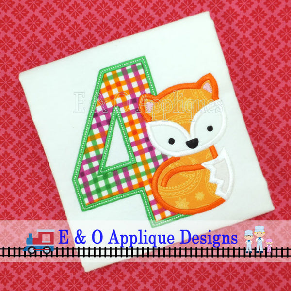 Fox Birthday 4 Applique Design