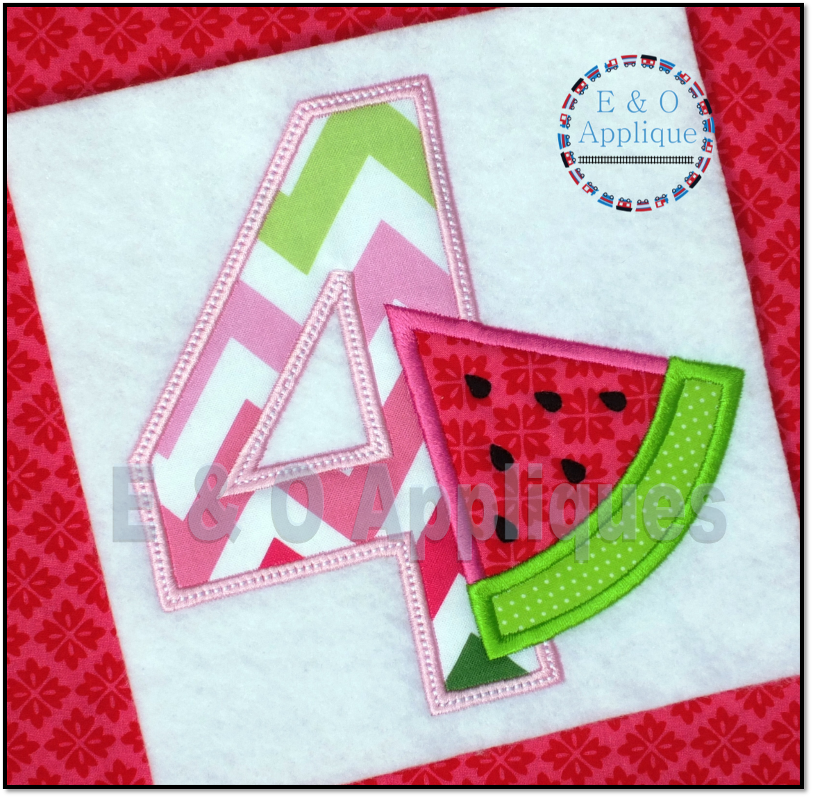 Watermelon Birthday 4 Applique Design