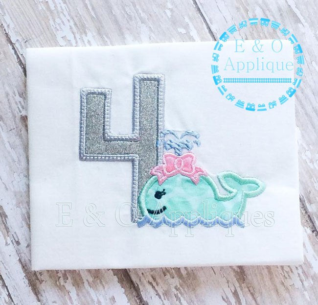 Whale Girl 4 Birthday Applique Design