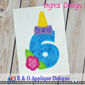 Unicorn Birthday Applique #6