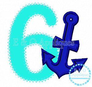 Anchor 6 Birthday Applique Design