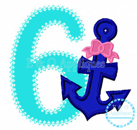Anchor Bow 6 Birthday Applique Design
