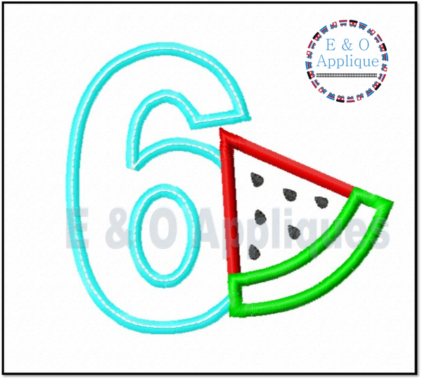 Watermelon Birthday 6 Applique Design