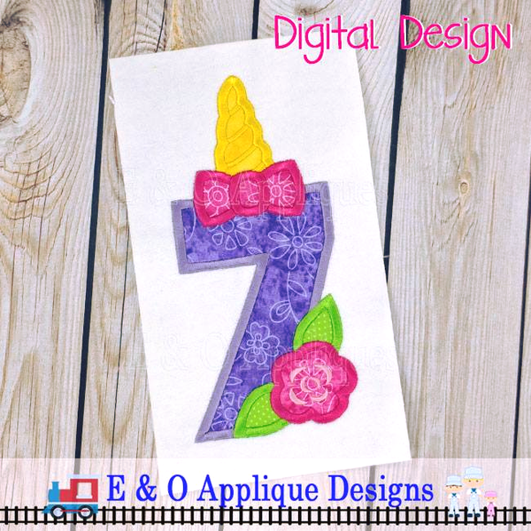 Unicorn Birthday Applique #7