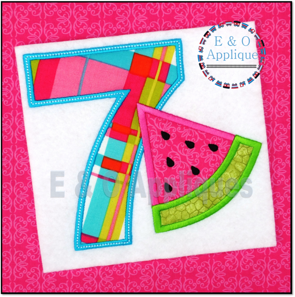 Watermelon Birthday 7 Applique Design