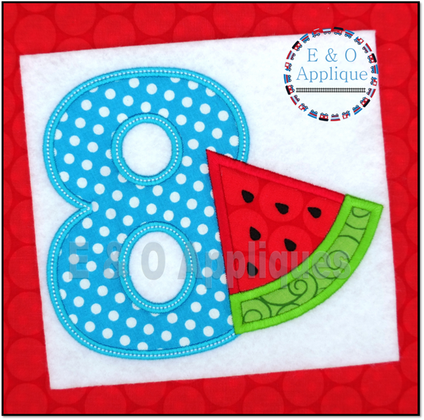 Watermelon Birthday 8 Applique Design