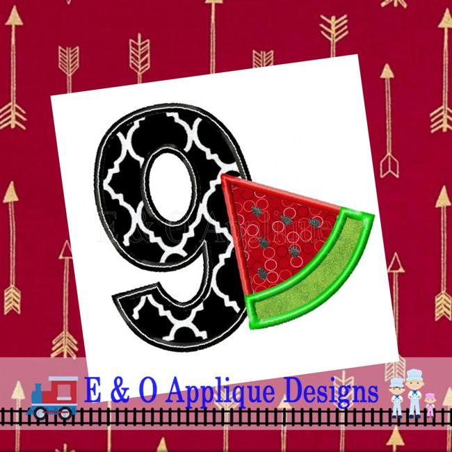Watermelon Birthday 9 Applique Design