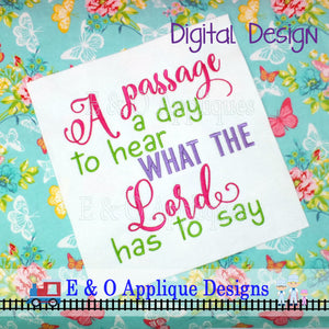 A Passage a Day Embroidery Design