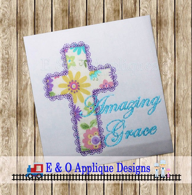 Amazing Grace Lace Edge Cross Applique Design