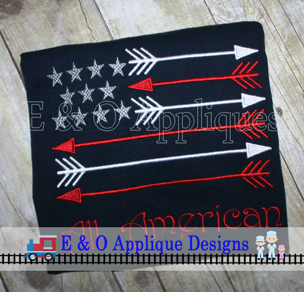 American Arrow Flag Embroidery Design