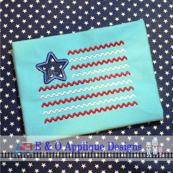 American Chevron Flag Embroidery Design