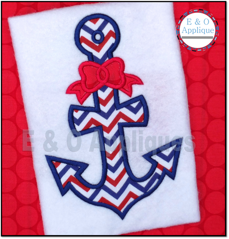 Anchor Bow Applique