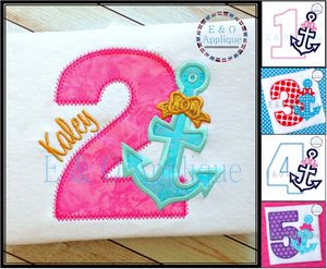 Anchor Birthday SET 1-5 Applique Design