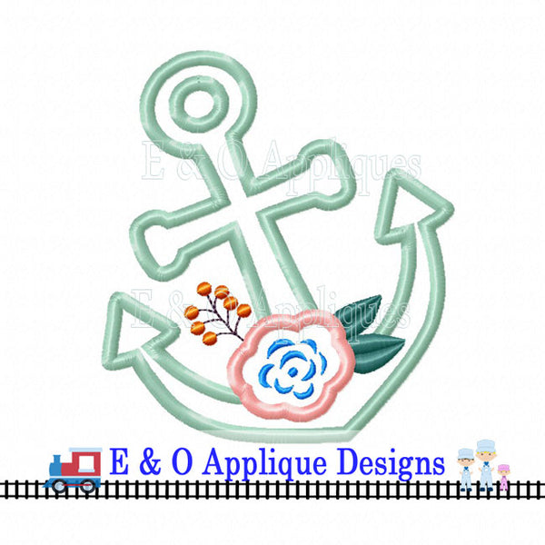 Anchor Flower Applique Design