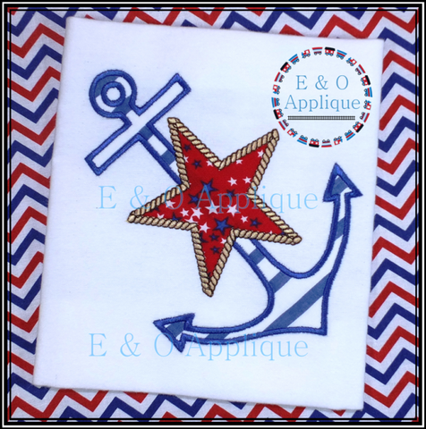 Anchor Star Applique Design
