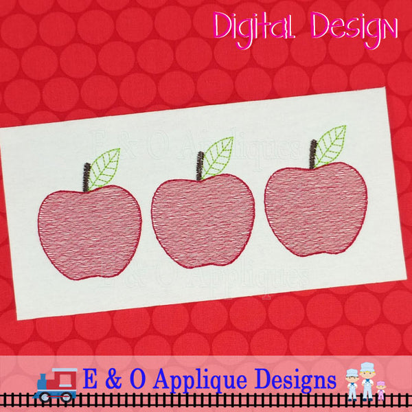 Apple Trio Sketchy Embroidery
