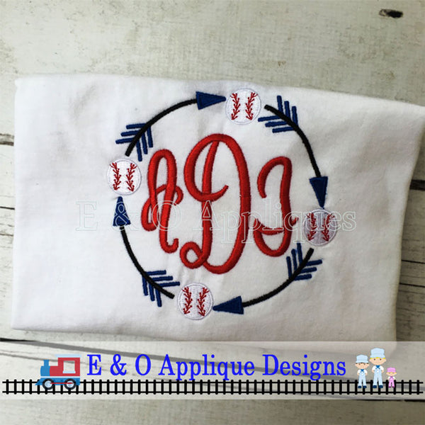 Arrow Baseball Monogram Frame Embroidery Design