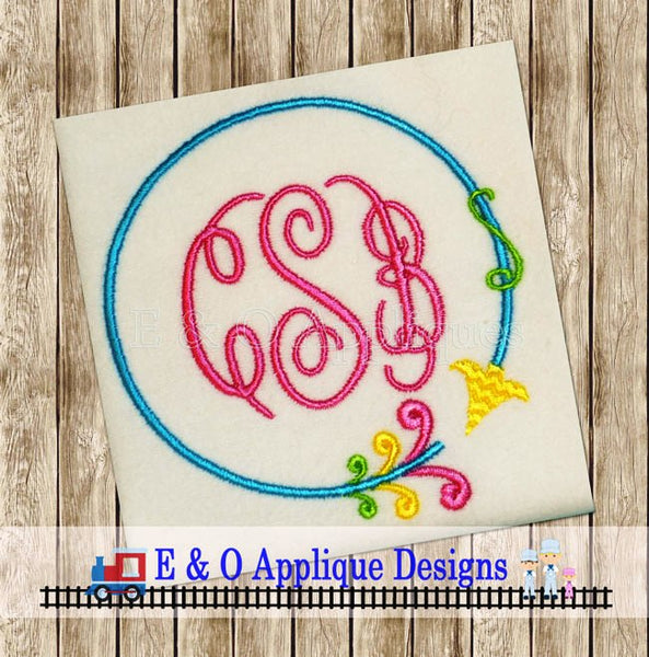 Arrow Circle Monogram Frame Embroidery Design