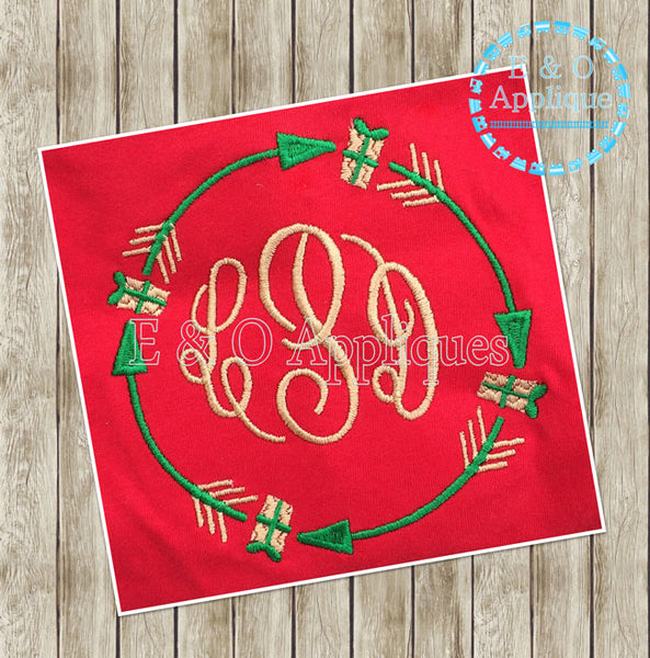 Arrow Present Monogram Frame Embroidery Design
