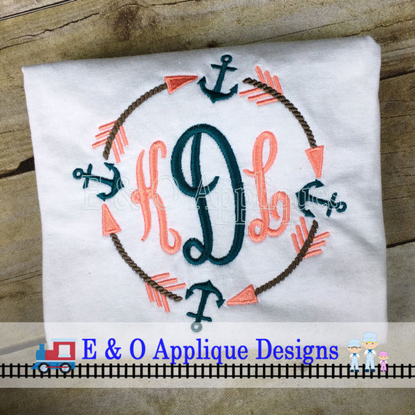 Arrow Anchor Monogram Frame Embroidery Design