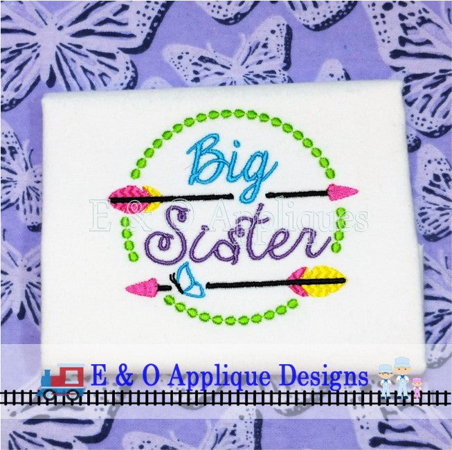 Arrow Big Sister Butterfly Digital Embroidery Design