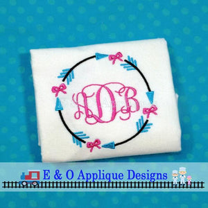 Arrow Bow Monogram Frame Embroidery Design