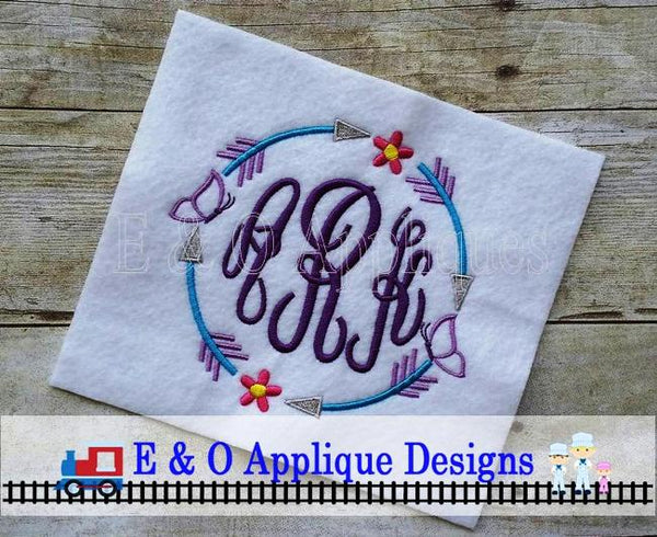 Arrow Butterfly Flower Monogram Frame Embroidery Design