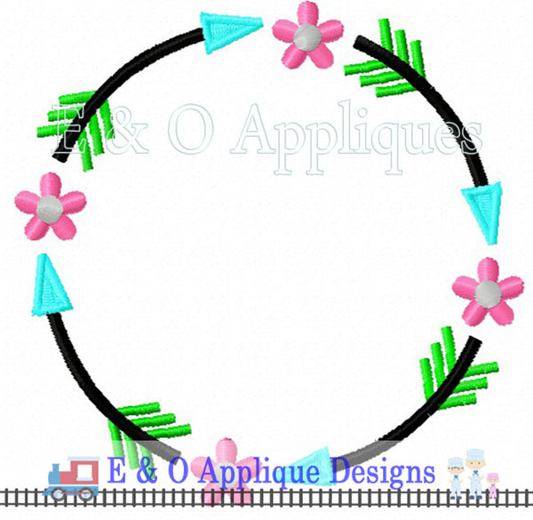 Arrow Flower Monogram Frame Embroidery Design