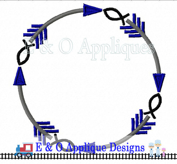 Arrow Ichthus Digital Monogram Embroidery Frame