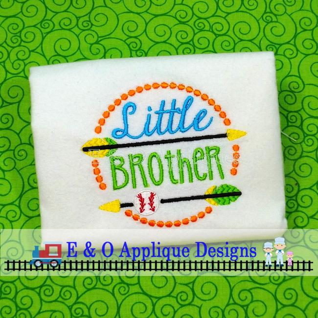 Arrow Little Brother Baseball Digital Embroidery Design