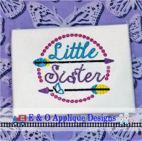 Arrow Little Sister Butterfly Digital Embroidery Design