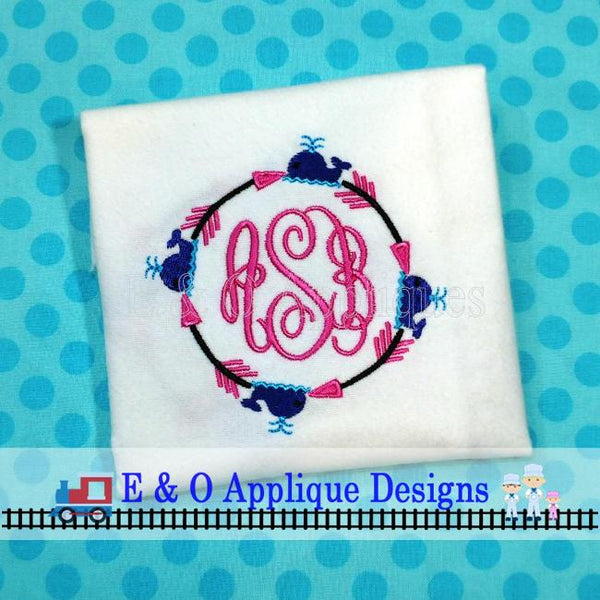 Arrow Whale Monogram Frame Embroidery Design